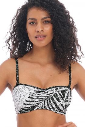 Freya Swim - Gemini Palm Bikini Bandeau bra with detachable straps F-I cup
