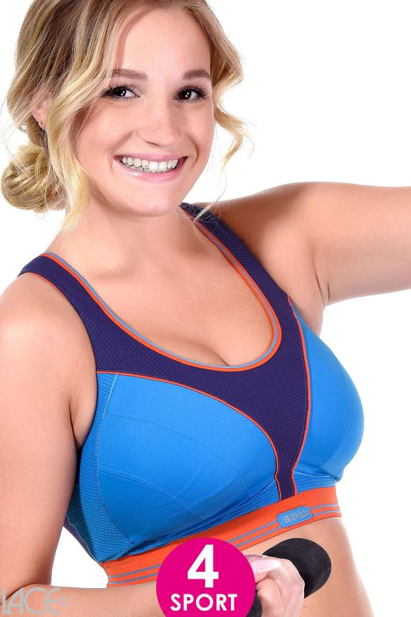 d83417400 Shock Absorber Ultimate Run Non-wired Sports bra DD-G cup WATER BLUE ...